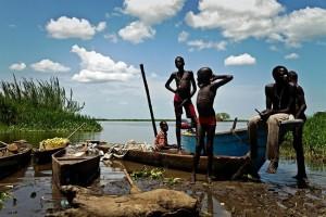 spiaggia sul fiume Nilo a Tereka, Sud Sudan